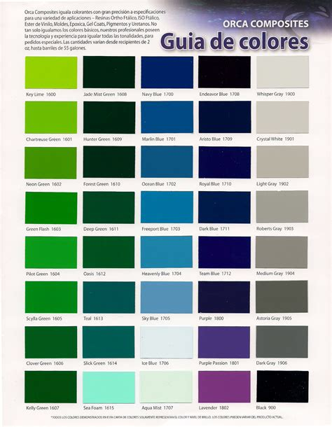 Matching Paint Colors by Fiberlay Gelcoat Color Chart