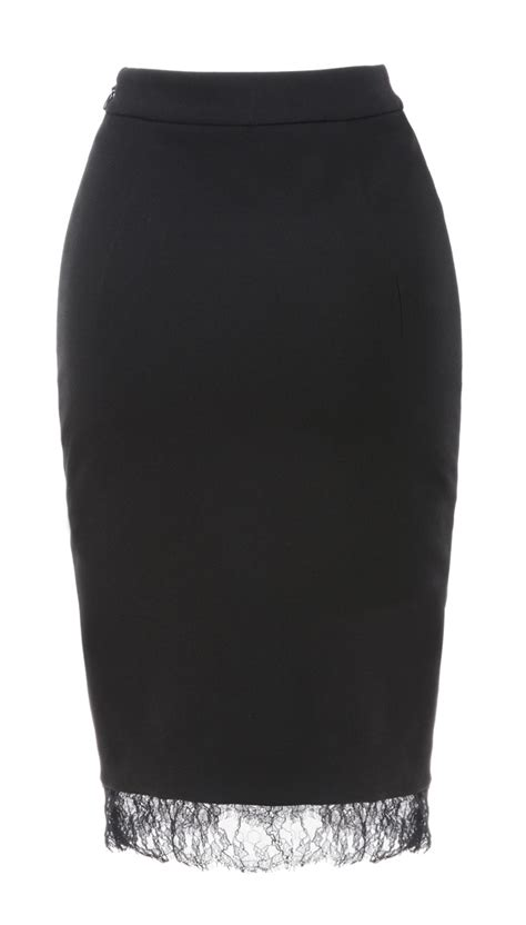 Nirina Dress clothing skirts nirina black lace and jersey pencil