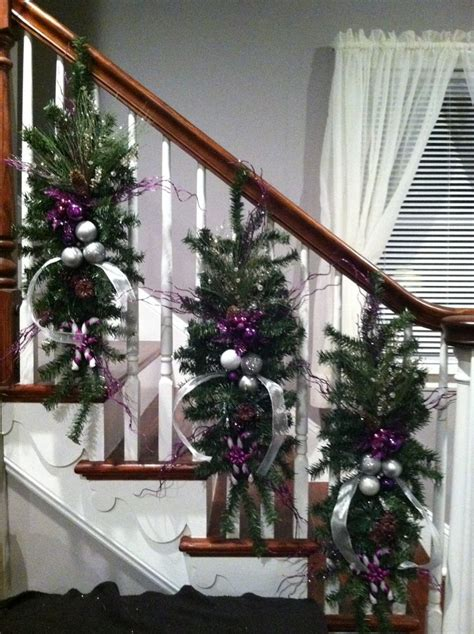 banister garland ideas kelly s christmas banister christmas decorations ideas