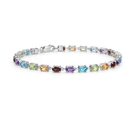oval multicolor gemstone bracelet in sterling