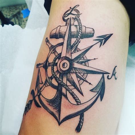 anchored art tattoo anchor compass sagitarious symbol tatuaje