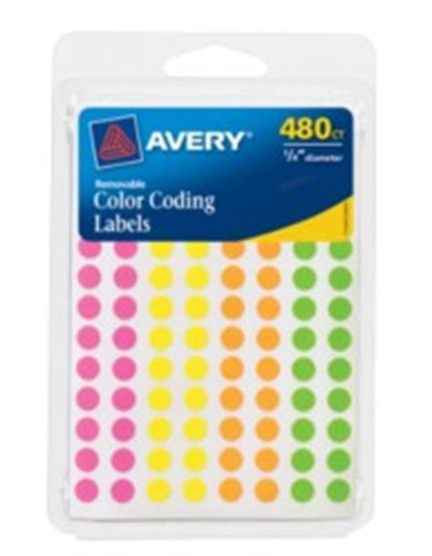 template for avery color coding labels avery assorted removable color coding labels 6720 round