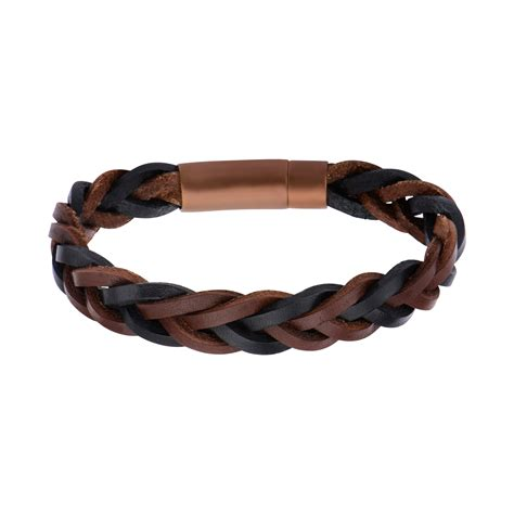 s black and brown braided leather bracelet