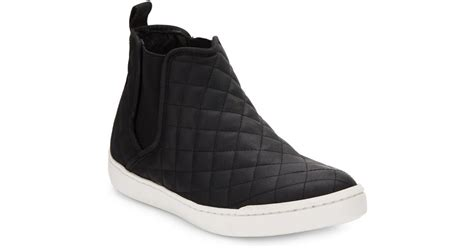 steve madden elvinn quilted faux leather sneakers in black