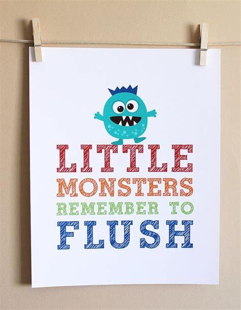monsters in the bathroom art for kids bathrooms