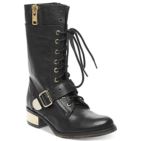 combat boots black steve madden lollly combat boots in black lyst
