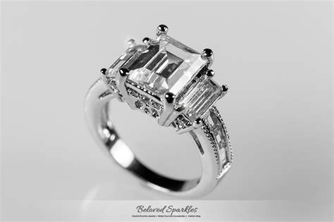 6 carat emerald cut cz engagement ring emerald by