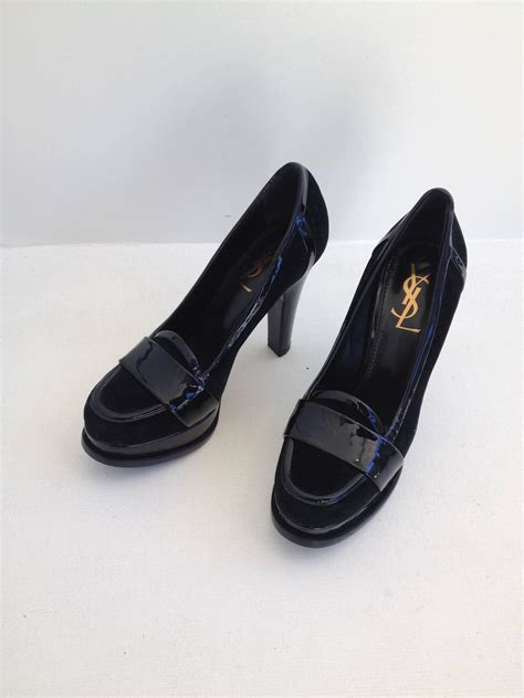 high heel loafer yves laurent black velvet and patent high heel