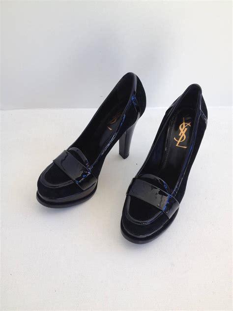 high heeled loafers yves laurent black velvet and patent high heel