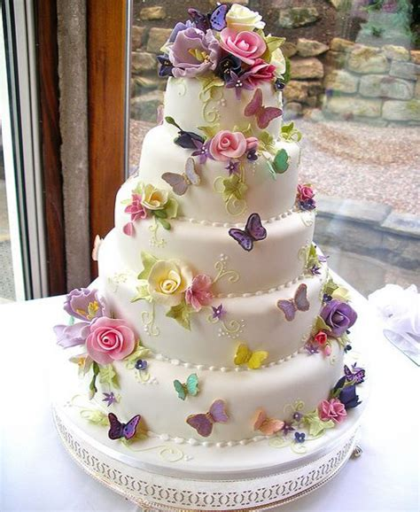 Flower Garden Cake Ideas Wedding Colorful Butterflies And Flowers Beautiful Wedding Cake Design Styles Time