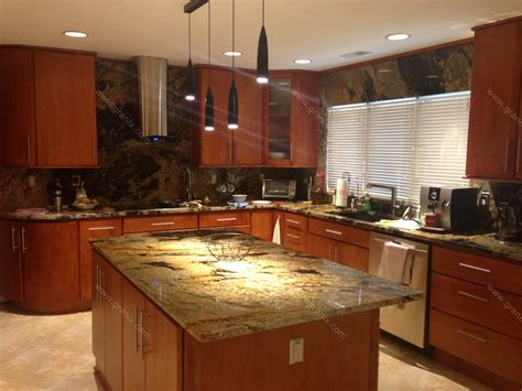 Pictures Of Kitchen Countertops And Backsplashes Val D Desert Granite Kitchen Countertop Island And Table With Backsplash Granix