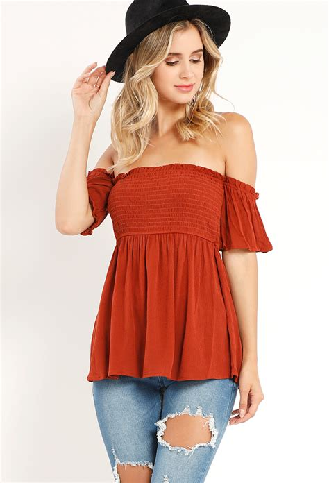 Top Baby Doll by Smocked The Shoulder Babydoll Top Shop Tops At