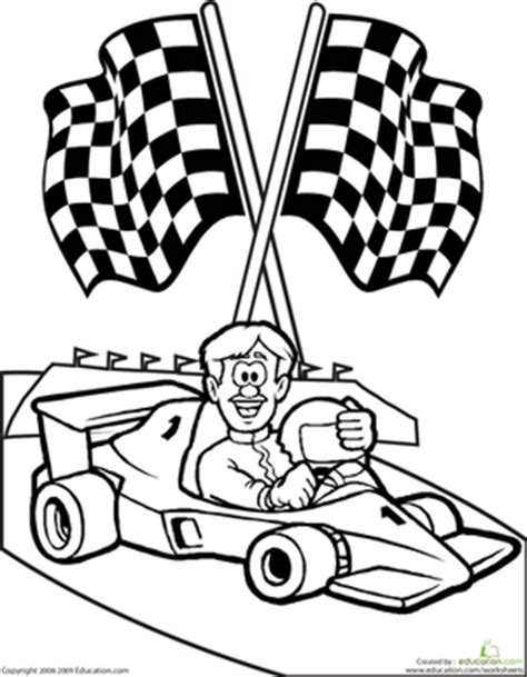 coloring page of race car driver color the race car driver worksheet education com
