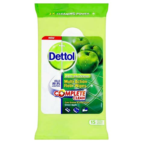 dettol floor cleaning wipes green apple extra large 15pk at wilko com