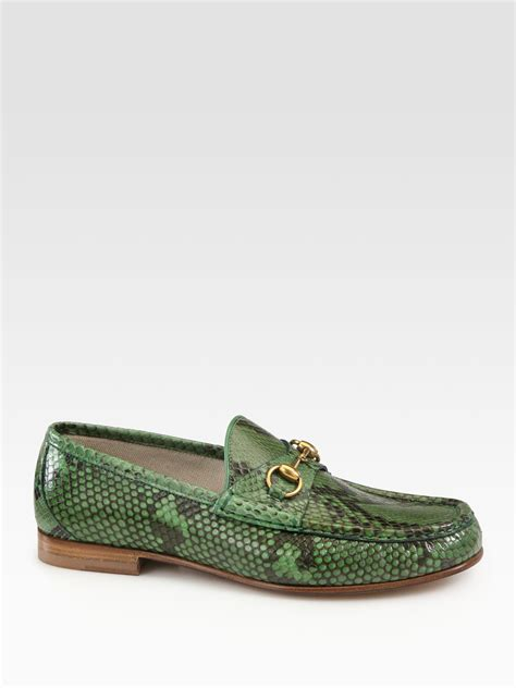 Slip On Els Gucci Hitam lyst gucci green python horsebit loafers in green for