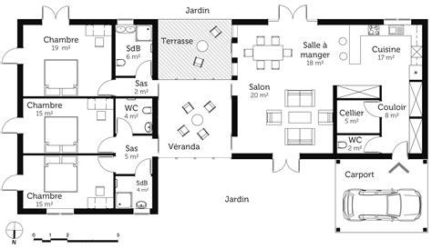 plan de maison de plain pied avec 3 chambres plan maison de plain pied avec v 233 randa ooreka