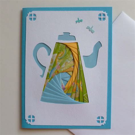 Iris Paper Folding - etsygreetings handmade cards coffeepot iris folding card