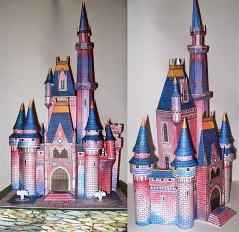 Sleeping Castle Papercraft - free 3d paper model vintage disney cinderella castle