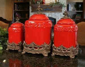 Red Ceramic Canisters For The Kitchen Drake Design Large Red Fleur De Lis Canister Set Free