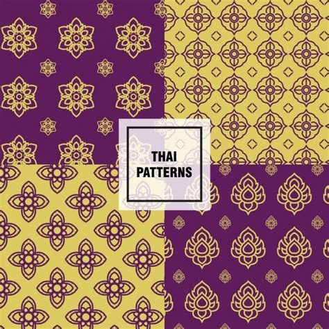 thai pattern ai yellow and purple thai patterns vector free download