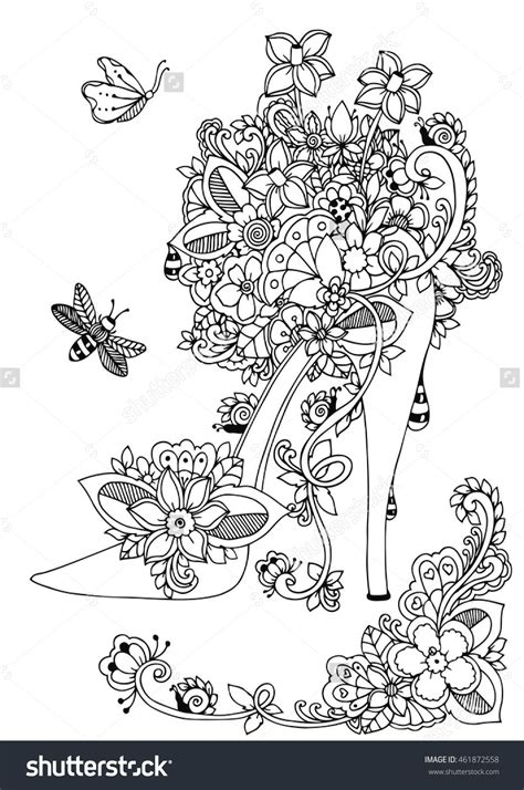 balance anti stress coloring zentangle balance and stress relief coloring book for adults zentangle high heel shoe with flowers doodle drawing