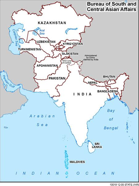 south asia map with country names south and central asian affairs countries and other areas