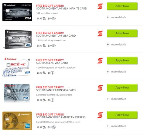 Free Gifts With Credit Cards - canadian rewards walletsavvy free gift card on scotiabank credit card application