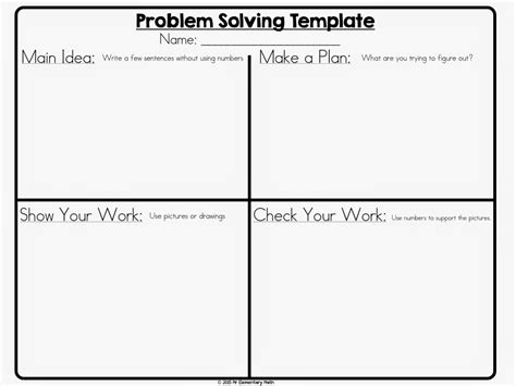 Problem Solving Template mr elementary math math problem solving 101