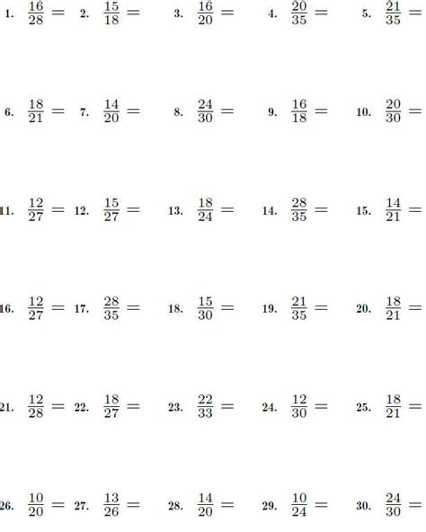 Simplifying Fractions Worksheet by Fractions Worksheet