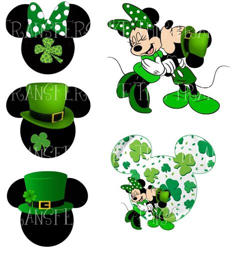 St Minie Mouse mickey minnie mouse st patricks day iron on heat t shirt