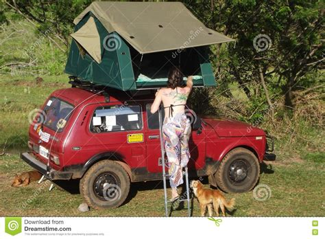 Lada Niva Family Camping With A Roof Tent Editorial Image   Image: 76292730