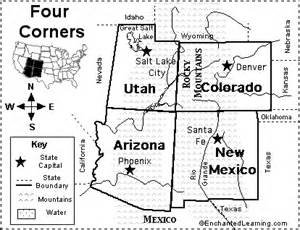 Four Corners States Map by Four Corners Map Quiz Printout Enchantedlearning Com