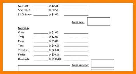 money count sheet template drawer safe 6 section register drawer till