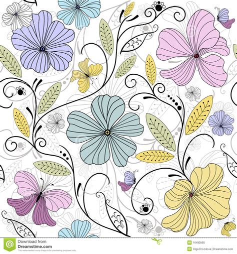 a seamless repeating retro floral pastel seamless floral pattern stock vector image 16493560