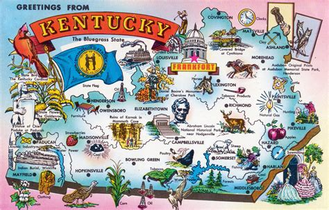 kentucky attractions map large tourist illustrated map of kentucky state kentucky