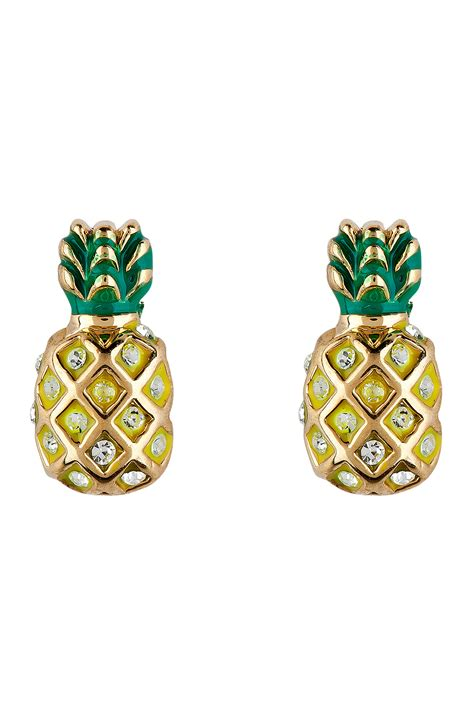 Asos Pineapple Stud Earrings couture gold pineapple earrings in gold lyst