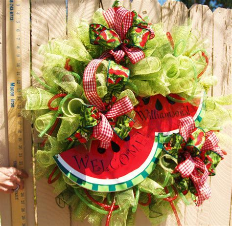 8 Etsy Items For The Summer by Summer Watermelon Deco Mesh Wreath By From