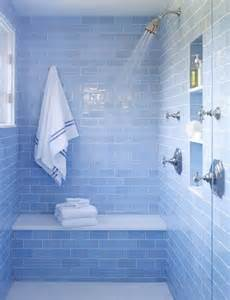 Blue Bathroom Tile Ideas by Sky Blue Glass Subway Tile Pinterest Love The Showers