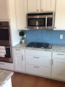 Blue Kitchen Tile Backsplash sky blue glass subway tile backsplash in modern white kitchen subway