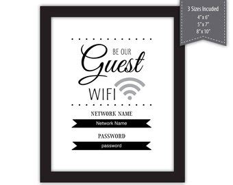 Wifi Password Courtesy Card Templates by Password Template Etsy