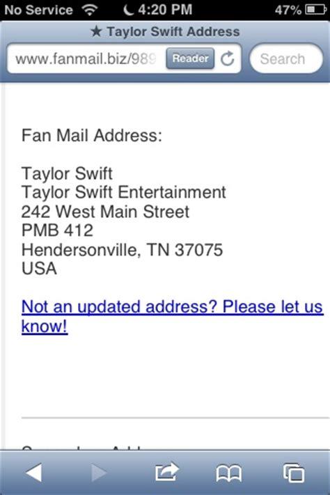 Taylor Swift Fan Mail Address Please Comment Below If You