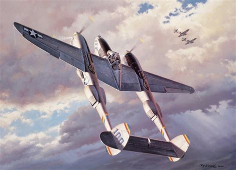 painting airplane ww2 war aviation fighter airplane painting p38