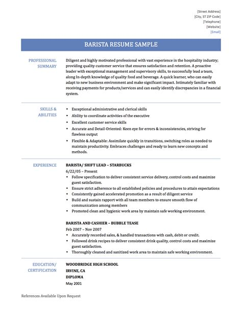 Barista Resume Sle Free How To Write A Resume For A Barista 28 Images Barista Resume Sles Visualcv Resume Sles