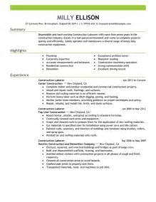 resume template for laborer sle resume for laborer