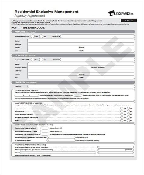 8 Agency Agreement Form Sles Free Sle Exle Format Download Exclusive Agency Agreement Template