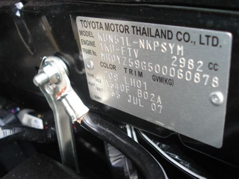 Toyota Hilux Engine Number Location Toyota Camry Vin Number Location Get Free Image About