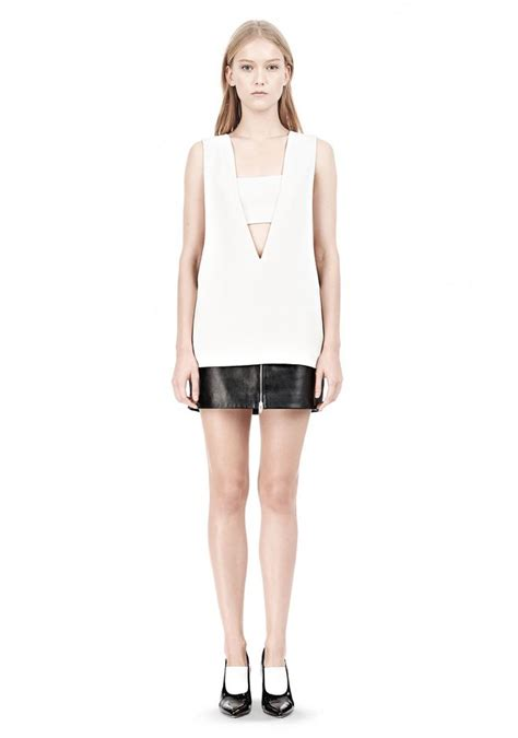 V Neck Low Poly wang poly crepe low v neck tank top with