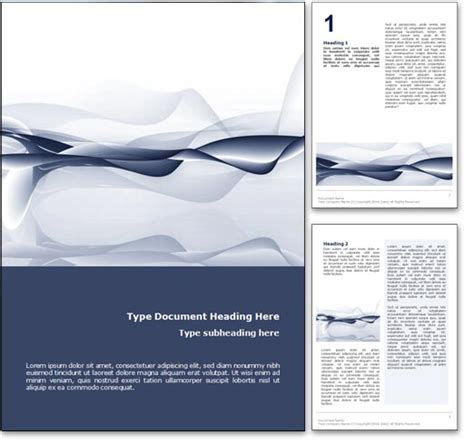 Royalty Free Abstract Ocean Microsoft Word Template In Blue Microsoft Word Doc Templates