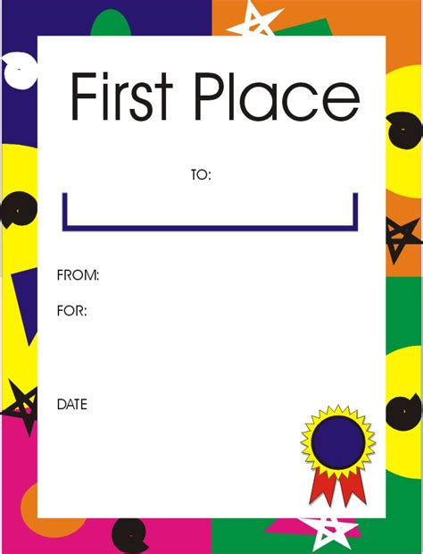 1st place certificate template certificates for