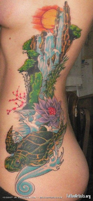 waterfall tattoos designs where the turtle is i want to put a quote i made quot in order